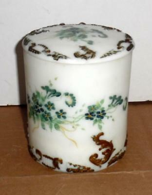 Antique Victorian Hand Painted Floral Glass Jar w/ Lid Vtg Glass Canister Vanity