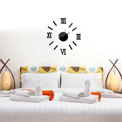 Mute DIY Large Wall Clock 3D Numeral Mirror Big Watches Home Office Decor