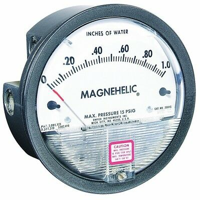 "Dwyer Magnehelic Series 2000 Differential Pressure Gauge, Range 10-0"" - 25cm WC"