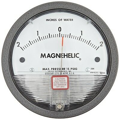 "Dwyer Magnehelic Series 2000 Differential Pressure Gauge, Range 2-0"" - 5.1cm WC"