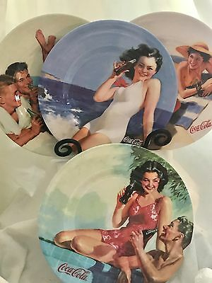 "COCA COLA SEXY GIRLS Retro 4 piece Melamine 8.25"" Plates Picnic Party FUN! EUC"