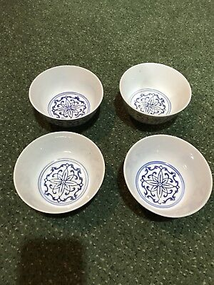 Vintage Chinese Blue & White floral pattern Porcelain Soup Rice Bowls, Lot of 4