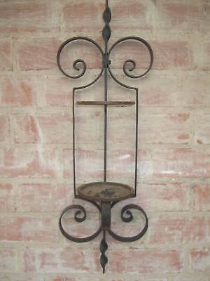 Vintage Wrought Iron WALL SCONCE CANDLE / PLANT HOLDER...Nice Decorative Rustic