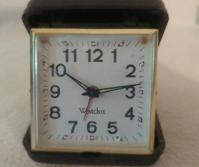vintage alarm clock Westclox travel style in black case