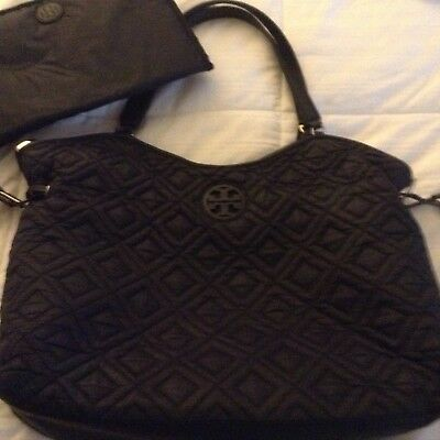 Tory Burch Marion Quilted Slouchy Black Diaper Tote Bag