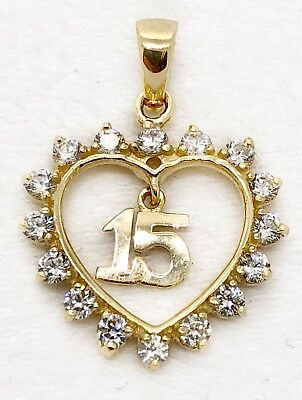 14K Yellow Gold Sweet 15 Quinceanera Key Charm Pendant with 0.8mm Box Chain Necklace