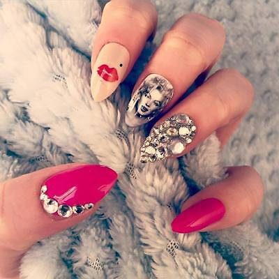 FALSE NAILS - Marilyn Monroe, Pink Diamante Cluster - Stick On - The Holy Nail