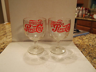 Vintage Pepsi Cola Pair 2 Thumbprint Dimple Fountain Glass Beer Mug Advertising