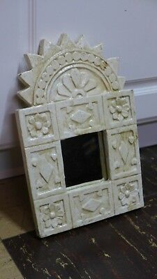 Indonesian / Balinese Handcrafted Wooden White Mini Tribal Mirror