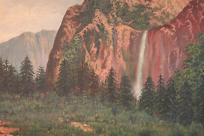 Alver Regli Oil on Canvas Painting of Yosemite Valley Cut, Early 20th Century