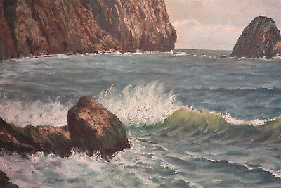 Alver Regli Oil on Canvas Large early 20th Century Seascape Painting, California