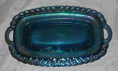 VTG Indiana Glass Company Carnival Glass Butter Dish irridescent Blue Tray USA