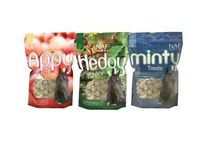 NAF Super Tasty 1kg Bags Appy Minty or Hedgy Herbal Natural Horse Treats