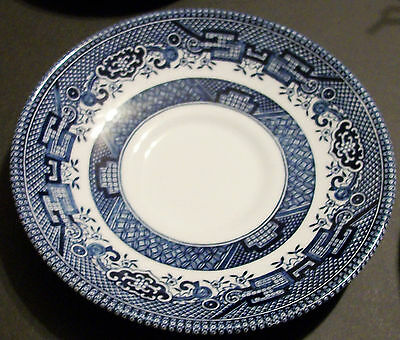 Vintage BLUE WILLOW CHINA Saucer COBALT BLUE on White Made in ENGLAND Rare Mint