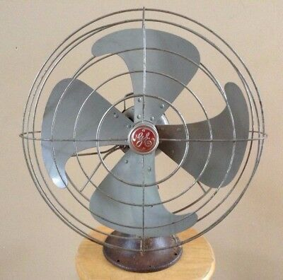 "VTG Heavy GE 19"" Vortalex Oscillating Fan Parts Repair Project Antique Red Badge"