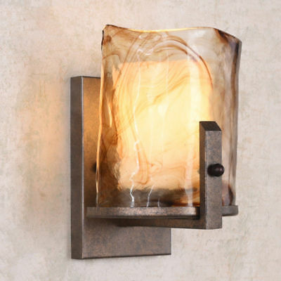 Retro Wall Mount Lamp Amber Art Glass & Rust Metal 1-Light Antique Wall Sconce