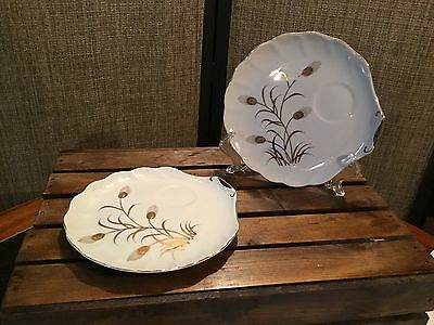 Lefton Wheat Snack Plate # 2768 Hand Painted Scallop Shell Style,  Total of 2.
