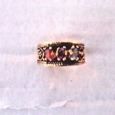 Vintage Solid Brass Multi Stone Antique Finish Filigree Heart Sample Ring