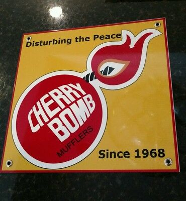 Cherry Bomb muffler sign oil gas gasoline