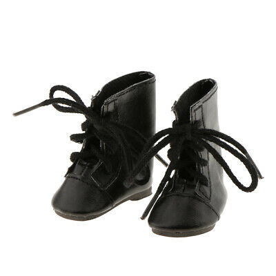 Fashion Shoes PU Leather Lace up Boots for 14'' American Girl Doll - Black
