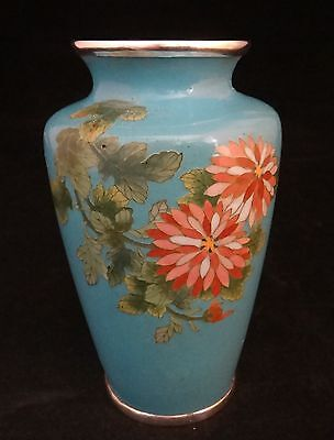 """Fine Japanese Cloisonné Vase with floral design, Early 20th cent.  5 1/8"""" tall"""