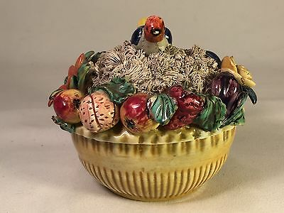 Vintage Capodimonte Floral Fruit Bird Nest Covered Dish Italy VERY UNIQUE