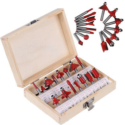 15pcs 1/4 Router Bit Set Shank for Tungsten Carbide Rotary Tool Woodworking Tool
