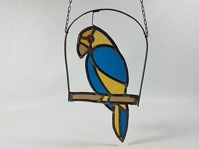 PARROT LEADED GLASS, Art Deco Glass Picture Window Glass Lead Glass Picture Bird
