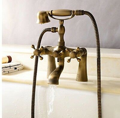Bathtub Faucet Two Cross Handles Telephone Shape Vintage Antique Brass Mixer Tap