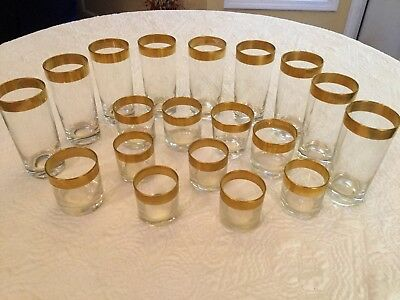 Set Of 19 Vintage Beverage Bar Coctail Glasses With Wide Gold Trim 3 Sizes