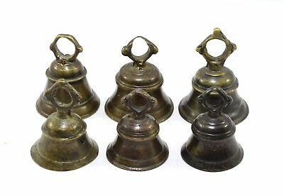 Antique Authentic Lot Of 6 Bells Handcrafted Primitive House Decorative. i9-55