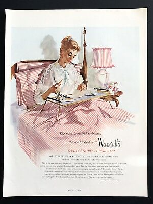 1955 Vintage Print Ad 50's WAMSUTTA Candy Strip Bed Sheets Breakfast In Bed