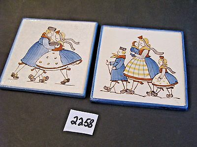 Pair 5 x 5 Wall Tiles, Dutch Scene, Made Germany, Impressed Bee Hive Mark