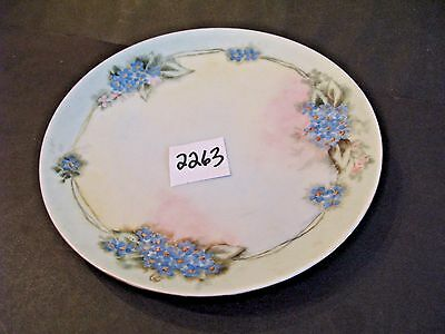 7 3/8 inch dish Hand Painted Blue Flowers Artist Initials Silesia germany