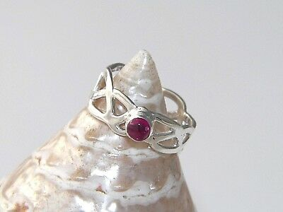Handcrafted Hammered 925 Sterling Silver Braided Celtic Ring Lab Ruby Cabochon