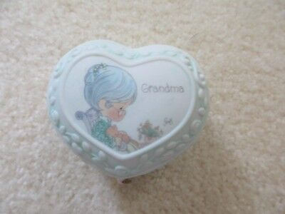 "Precious Moments heart-shaped ""Grandma"" trinket box"