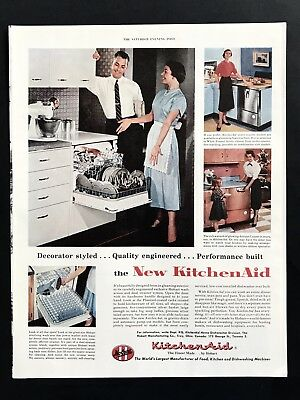 1955 Vintage Print Ad 50's KITCHEN AID Mod Century Kitchen Dishwasher