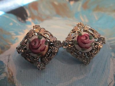 Antique Art Deco Hand Painted Roses Clear Crystal Filigree Scatter Pins Set Pair