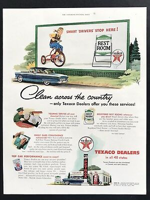 1955 Vintage Print Ad 50's TEXACO DEALERS Gas Oil Girl Riding Tricycle Service