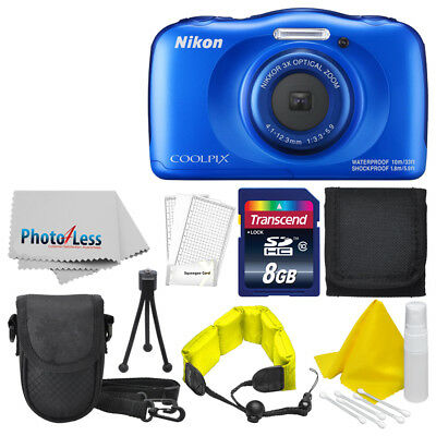 Nikon COOLPIX W100 13.2 MP Waterproof Digital Camera (Blue) + Top Value Bundle!