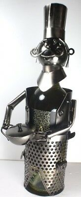 NEW! Chef Wine Bottle Holder - 100% Recycled Metal. Price Wizard. Brand New