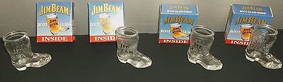 "4 VINTAGE JIM BEAM BOURBON WHISKEY BOOT SHAPED SHOT GLASS 3"" New in Box 1993"