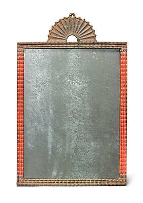 Red Painted Cast Iron 'ripple'Mirror, American, 19Th Century  