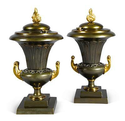 Rare Pair Of Regency Patinated And Burnished Bronze Urn-Form Argand Lamps, En...