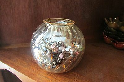 glass tea candle holder-globe shaped w/ridges, gold tone w/brown glass pebbles