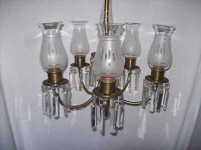 Vintage Antique Brass & Glass 5 Arm Crystal Chandelier Frosted Etched Shades