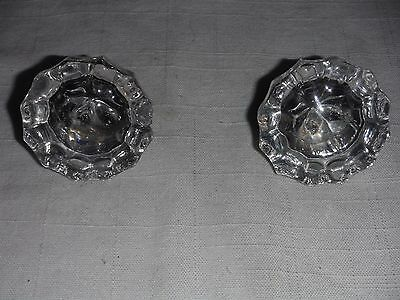 antique glass and brass 12 point door knobs