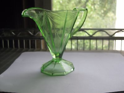 Vintage Green Creamer with Handle Depression Glass Etched Bamboo Design