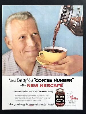 1955 Vintage Print Ad 50's Style NESCAFÉ Instant Coffee Pouring Into Cup