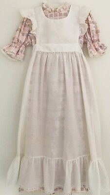 Vintage BAYLIS BROTHERS Girls Prairie Dress 1960's Size 8 Long 2 Layer Lace Trim